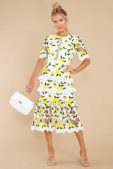 5 All I Wanted Yellow Floral Lace Midi Dress at reddress.com
