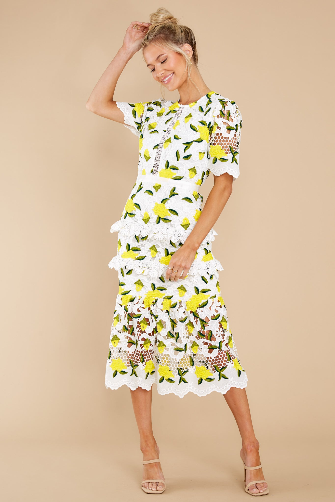 6 All I Wanted Yellow Floral Lace Midi Dress at reddress.com