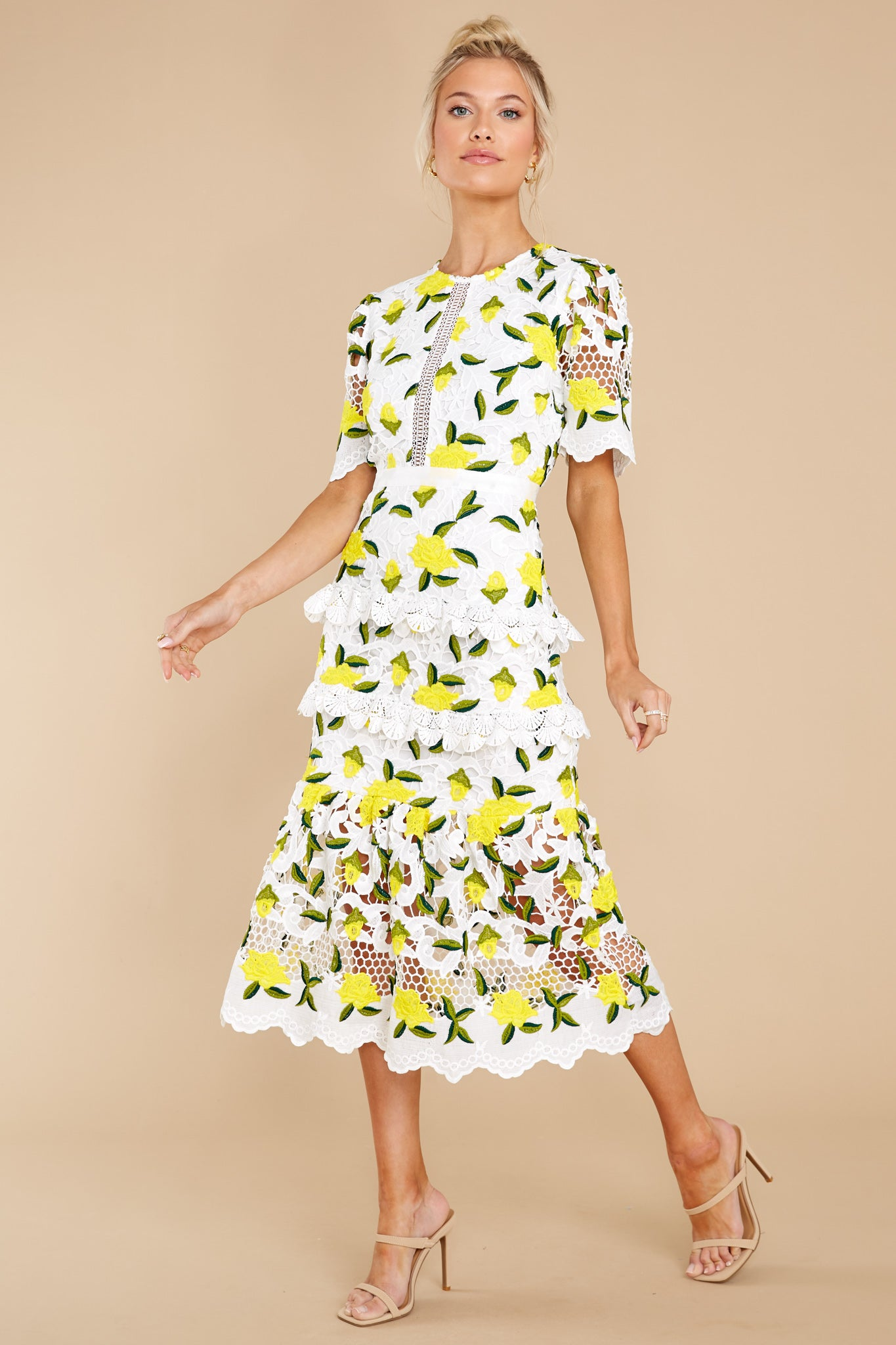 2 All I Wanted Yellow Floral Lace Midi Dress at reddress.com