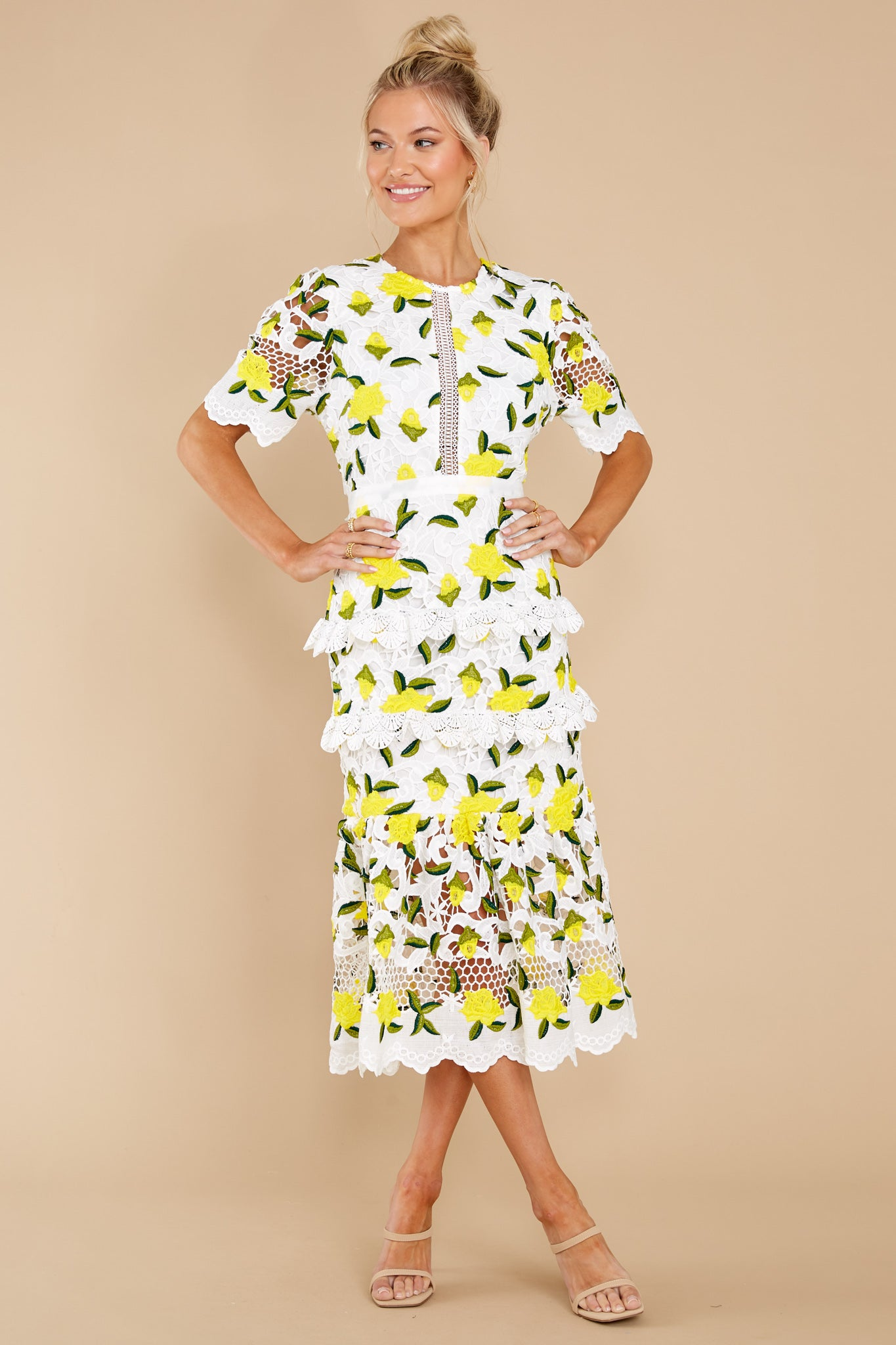 7 All I Wanted Yellow Floral Lace Midi Dress at reddress.com