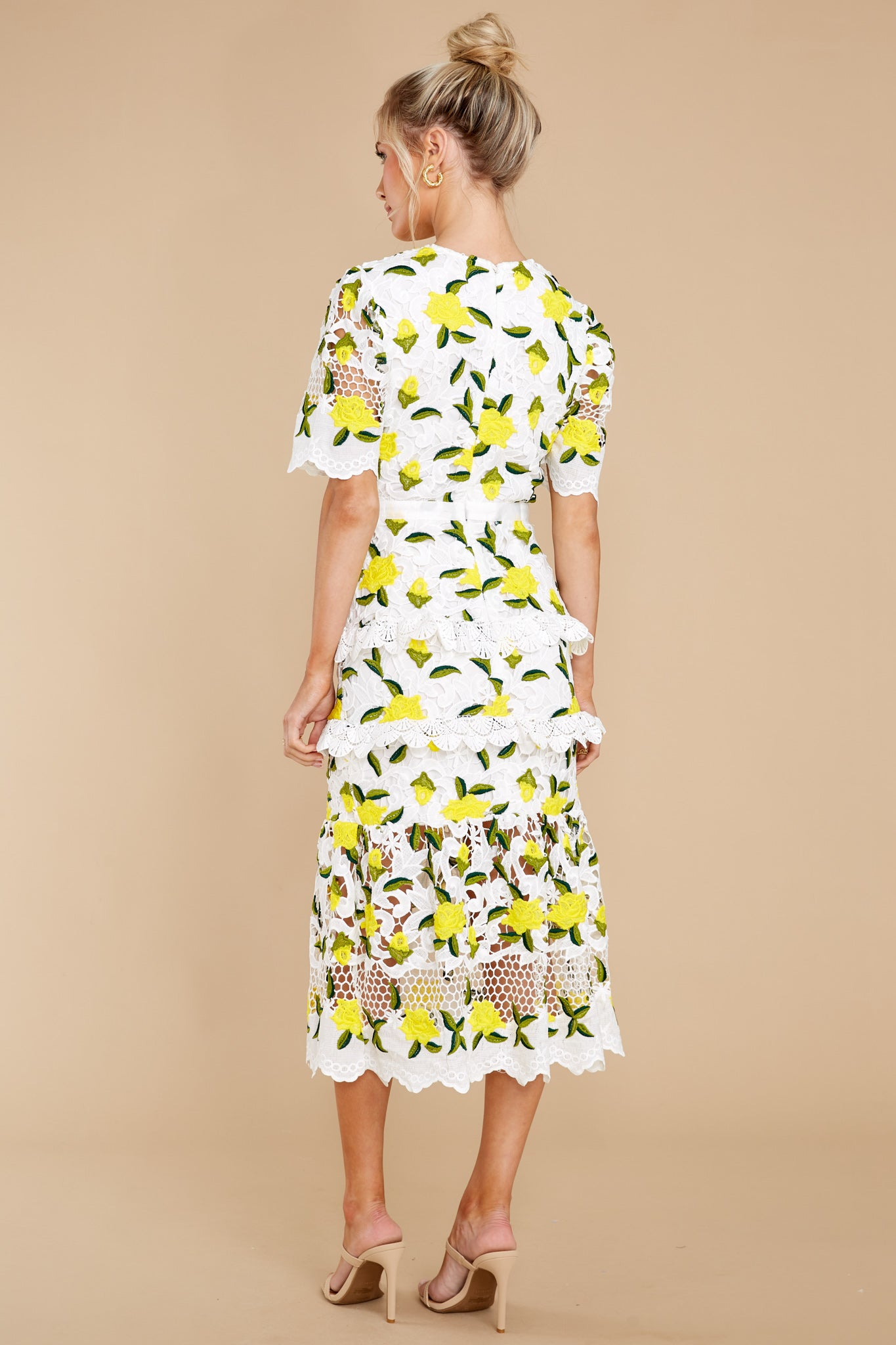 8 All I Wanted Yellow Floral Lace Midi Dress at reddress.com
