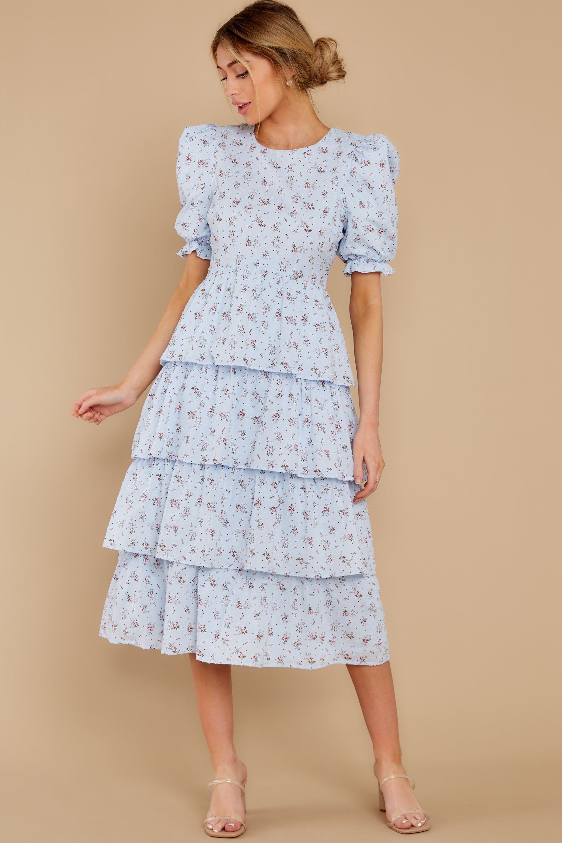 1940s Day Dress Styles, House Dresses Good Girl Light Blue Floral Print Midi Dress $56.00 AT vintagedancer.com