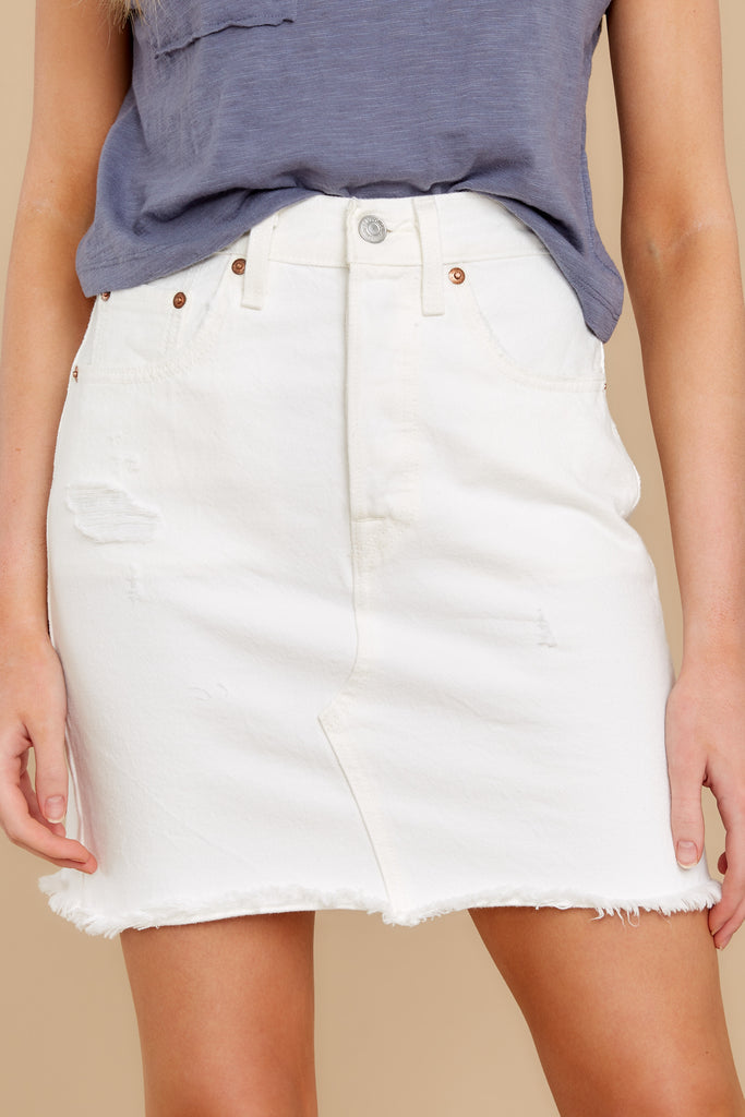 1 Heartbreak Girl White Distressed Denim Shorts at reddress.com