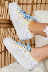 1 2790 Fan Cot Bindings White Floral Print Platform Sneakers at reddress.com