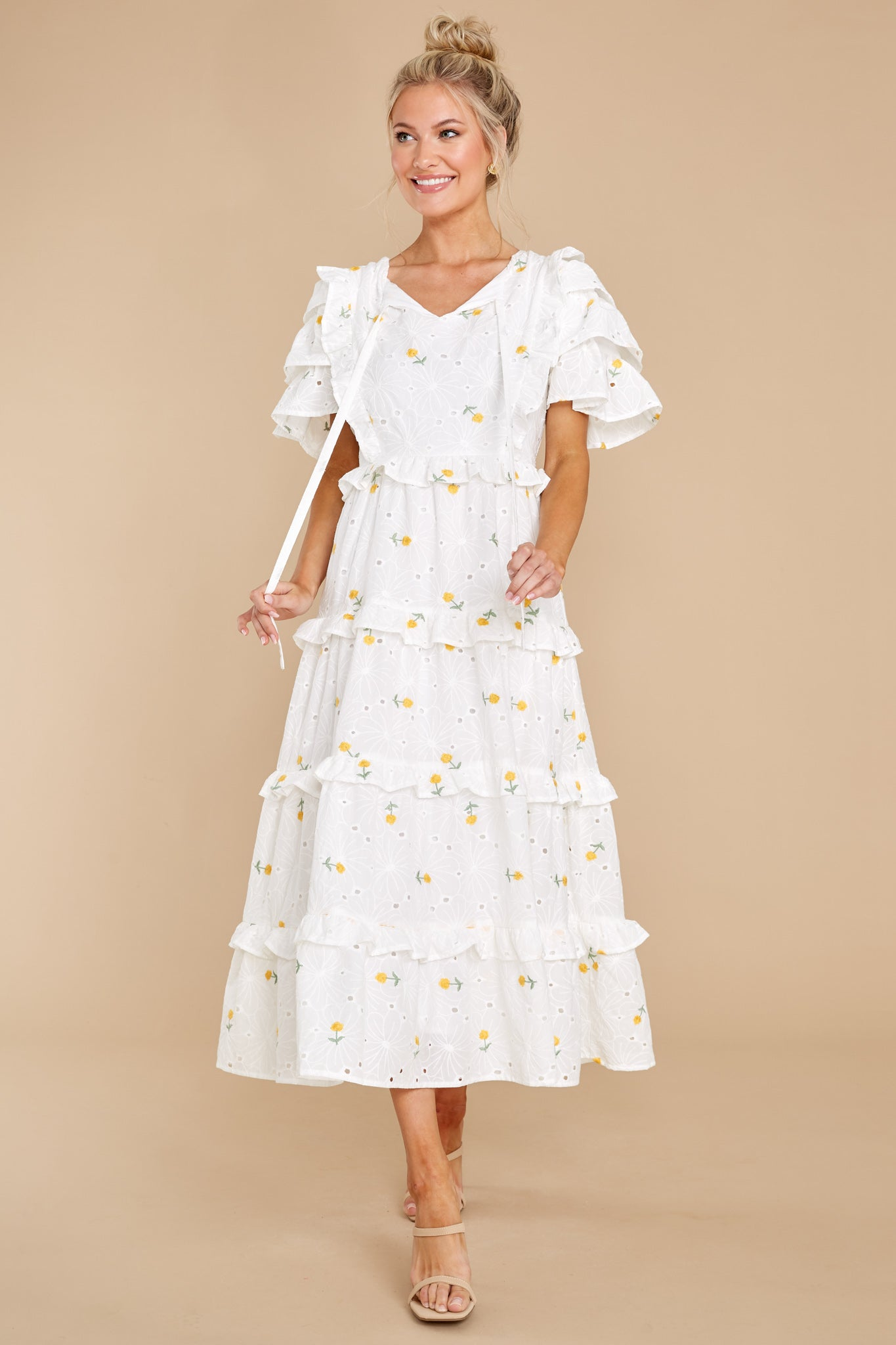 2 Windswept Fields Ivory Floral Print Dress at reddress.com