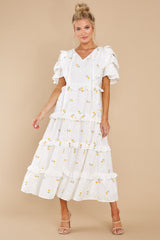 3 Windswept Fields Ivory Floral Print Dress at reddress.com