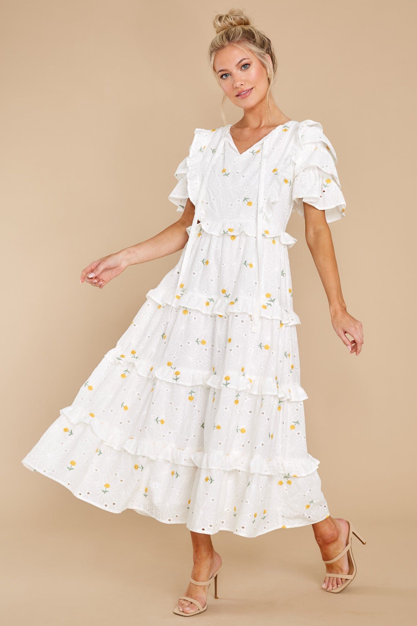 4 Windswept Fields Ivory Floral Print Dress at reddress.com