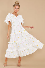 7 Windswept Fields Ivory Floral Print Dress at reddress.com