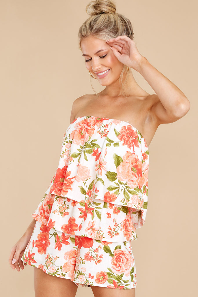 1 On The Bright Side White And Orange Floral Print Romper at reddress.com