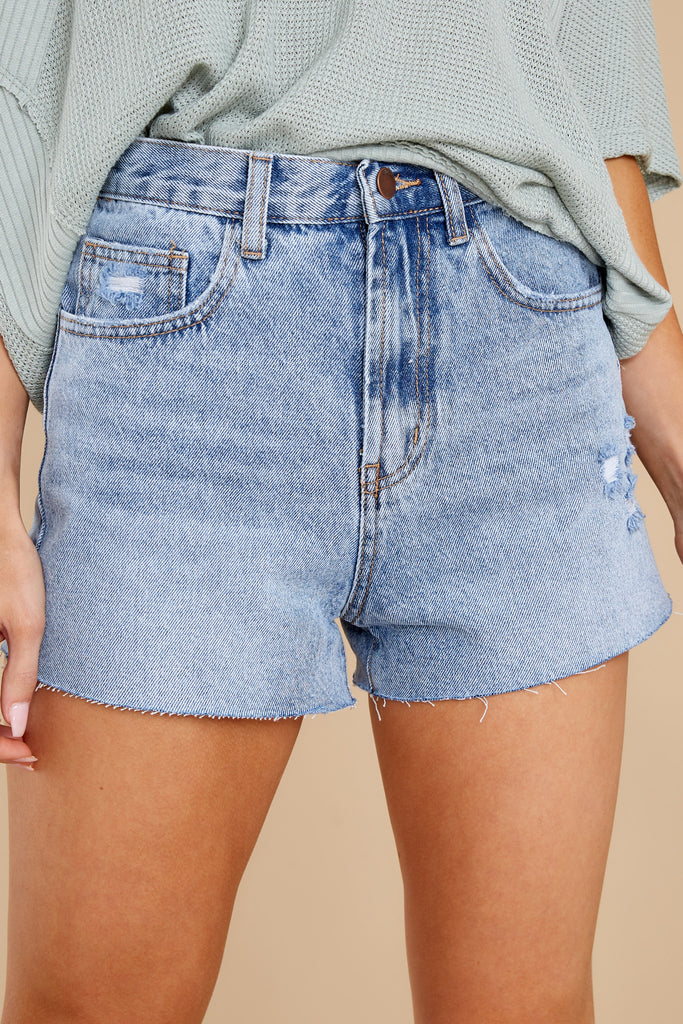 1 Totally Ready Light Wash Distressed Denim Shorts at reddress.com