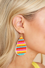 1 Droplet Of Color Pink Multi Beaded Earrings at reddress.com