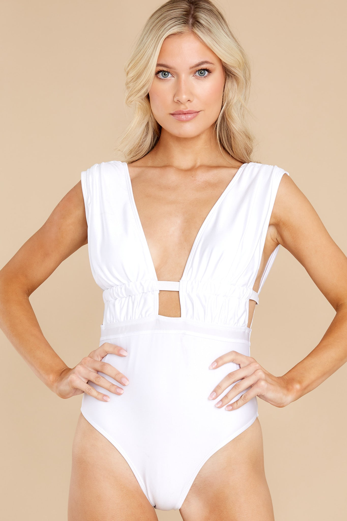 7 California Surf White One Piece Swimsuit at reddress.com