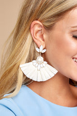 1 Nothing Like Before White Statement Earrings at reddressboutique.com