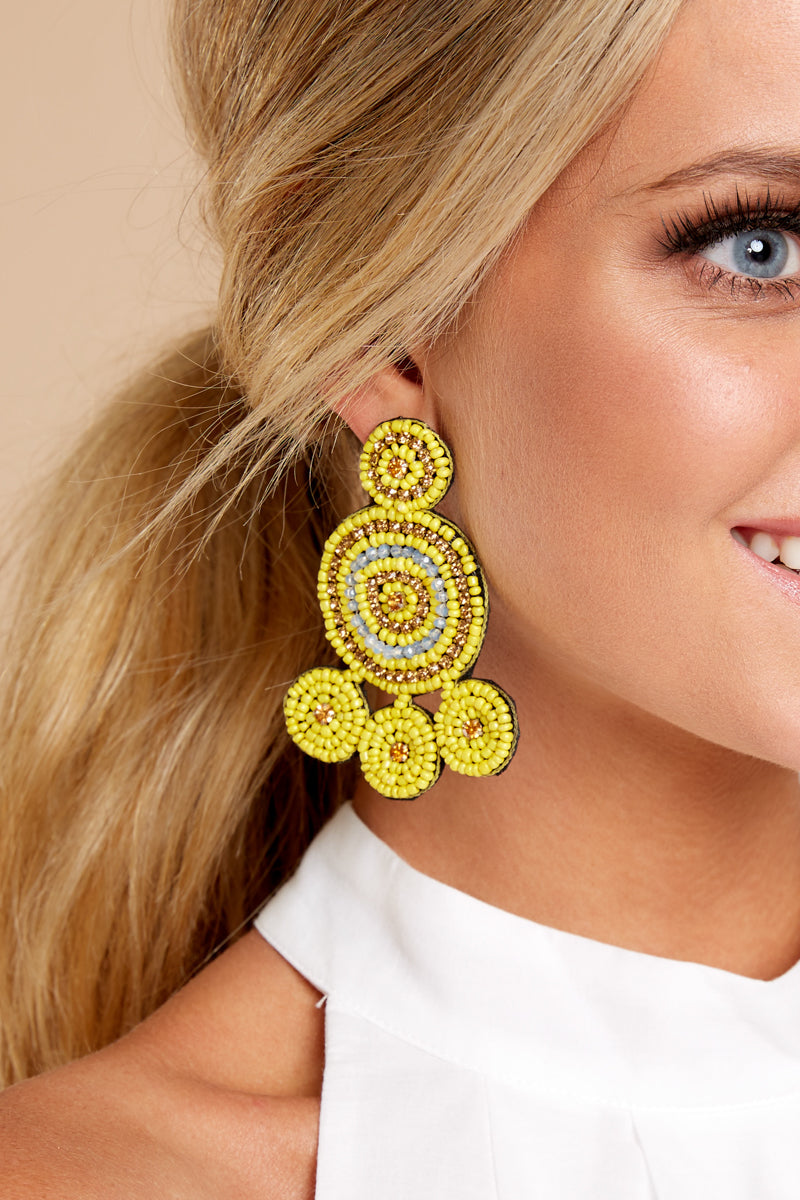 2 Make The Statement Yellow Earrings at reddressboutique.com