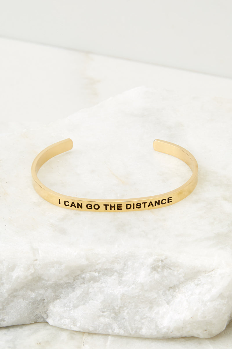 1 I Can Go The Distance Gold Bracelet at reddressboutique.com