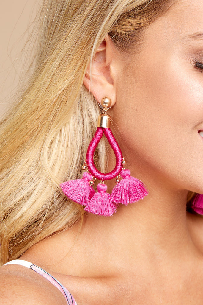 1 Request More Time Fuchsia Pink Tassel Earrings at reddressboutique.com