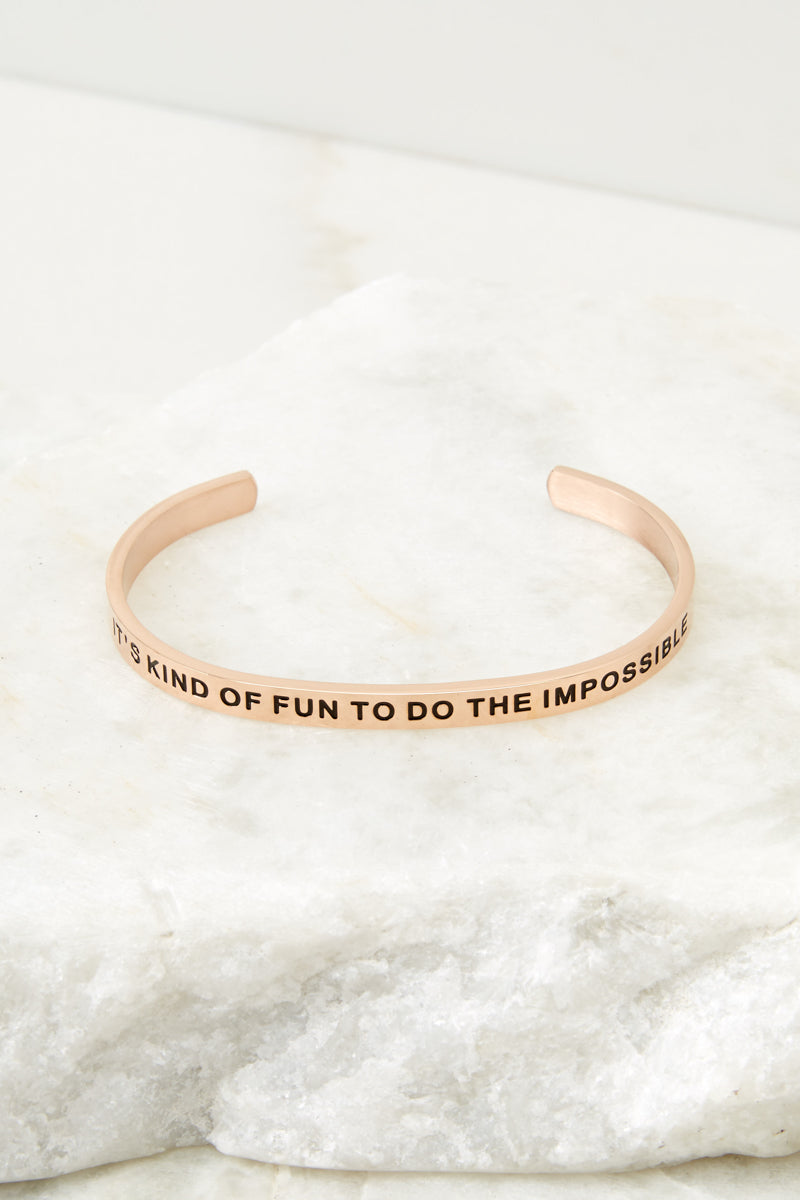 1 It's Kind Of Fun To Do The Impossible Rose Gold Bracelet at reddressboutique.com