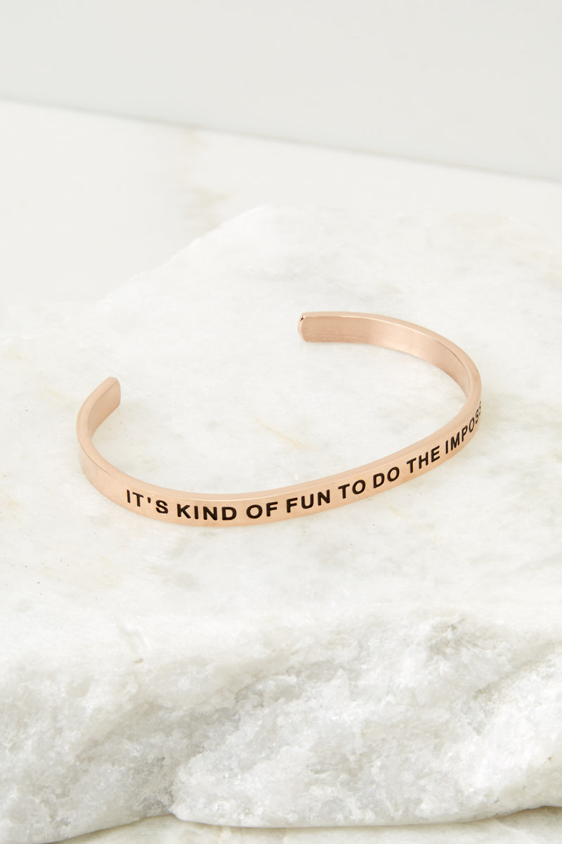 2 It's Kind Of Fun To Do The Impossible Rose Gold Bracelet at reddressboutique.com