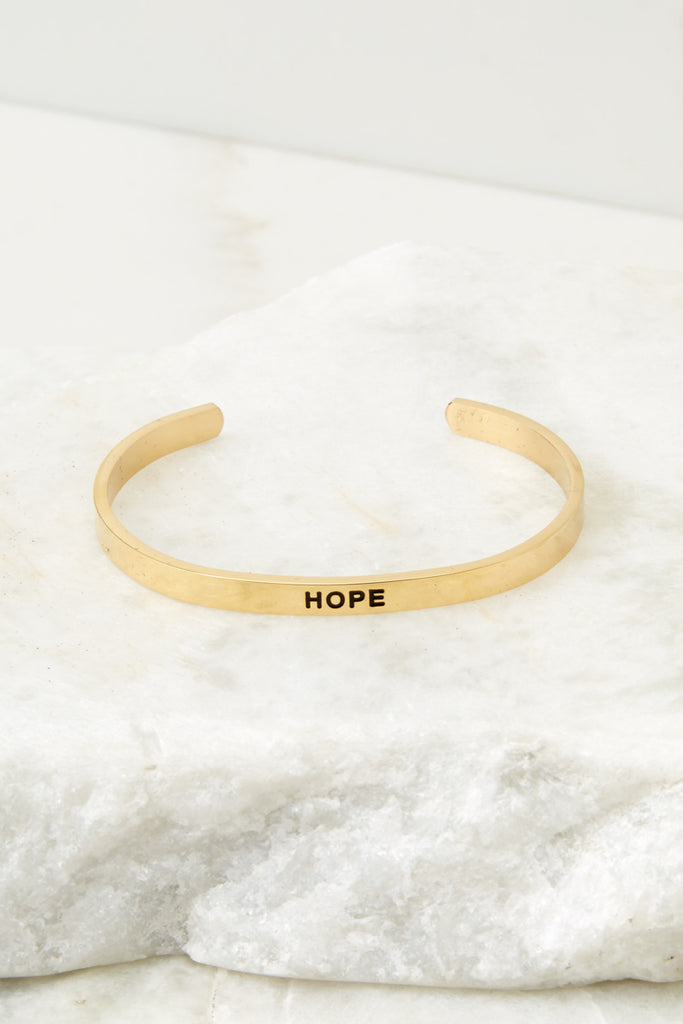 1 Keep Moving Forward Rose Gold Bracelet at reddressboutique.com