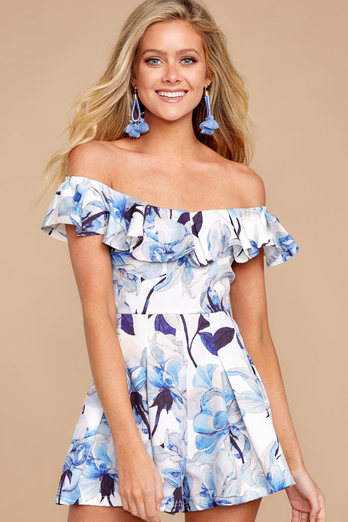 702c65c5ff30 Ready For More Blue Floral Print Romper