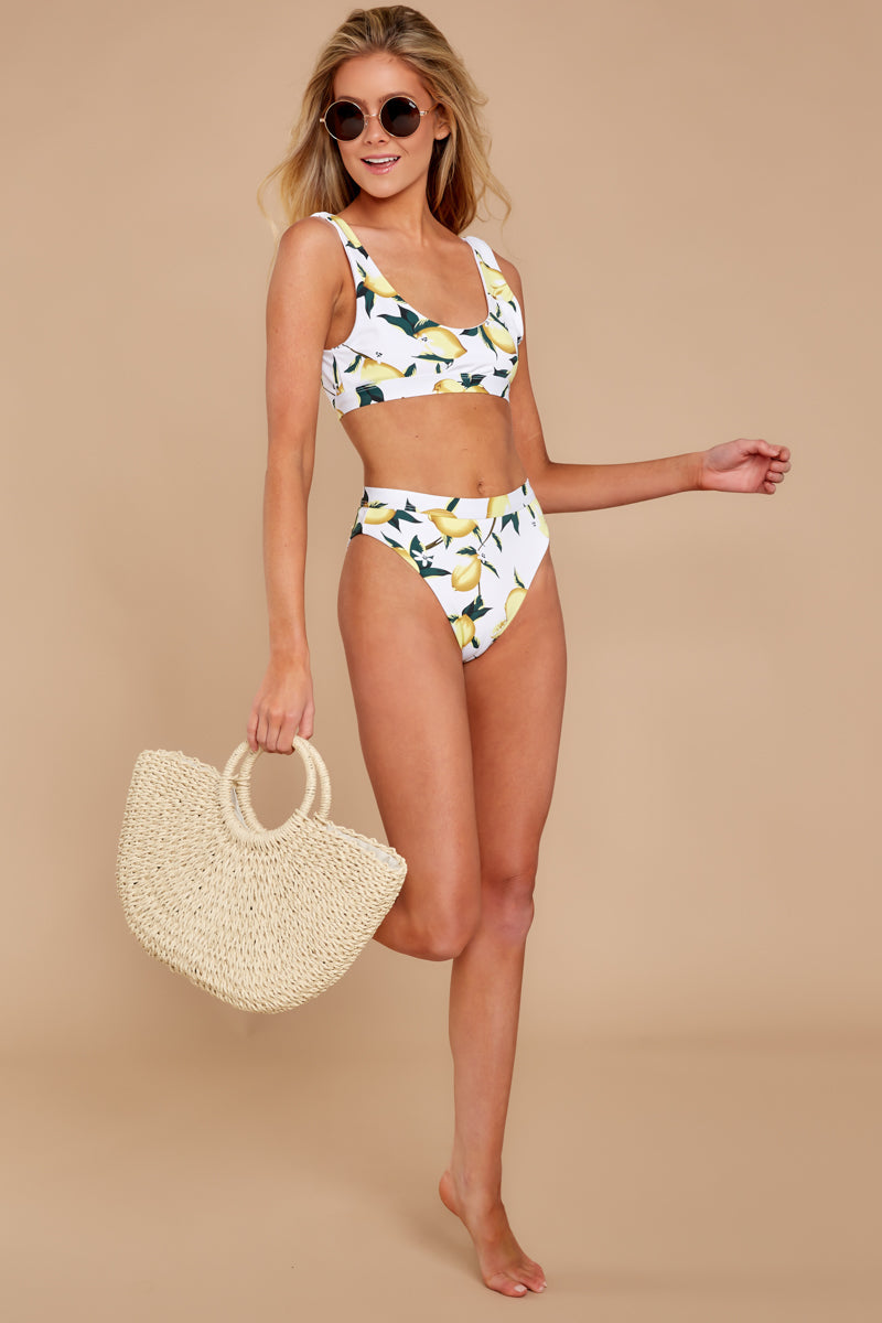 It's A Simple Life White Lemon Print Bikini Bottom