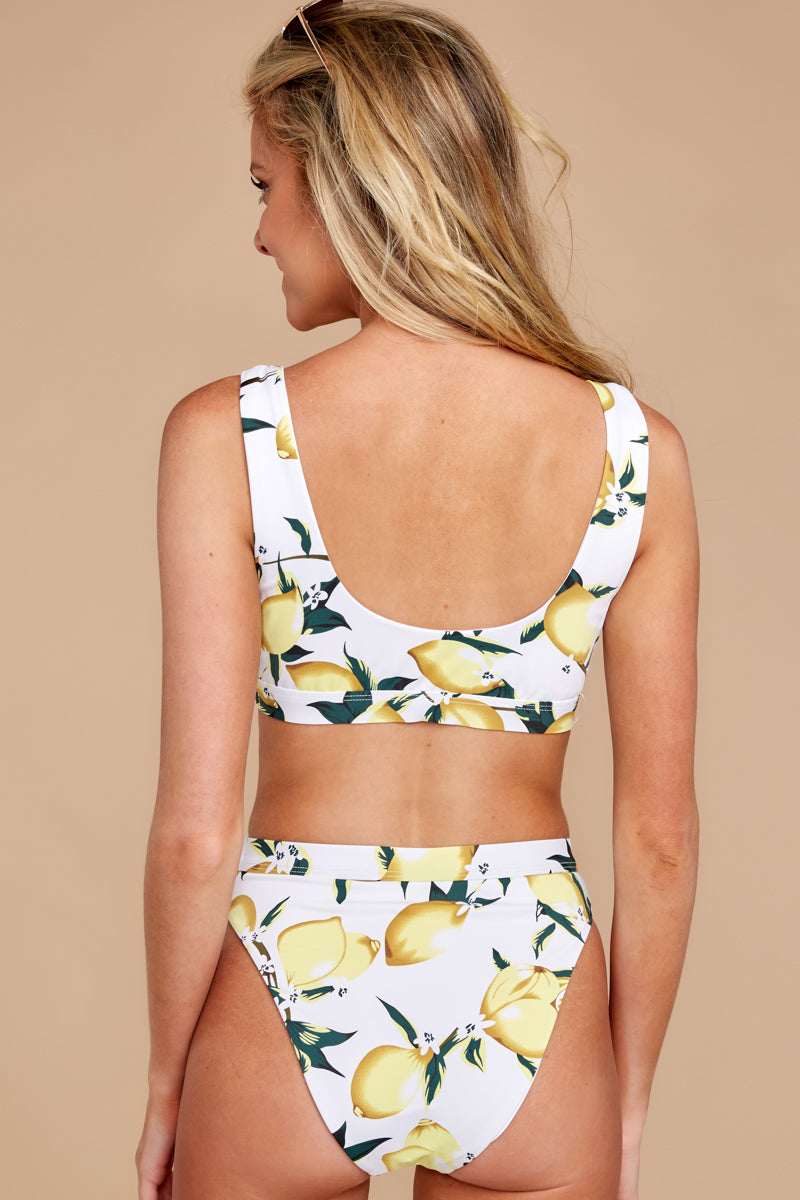 It's A Simple Life White Lemon Print Bikini Top