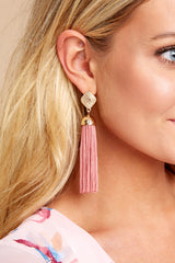1 Request More Time Mauve Pink Tassel Earrings at reddressboutique.com