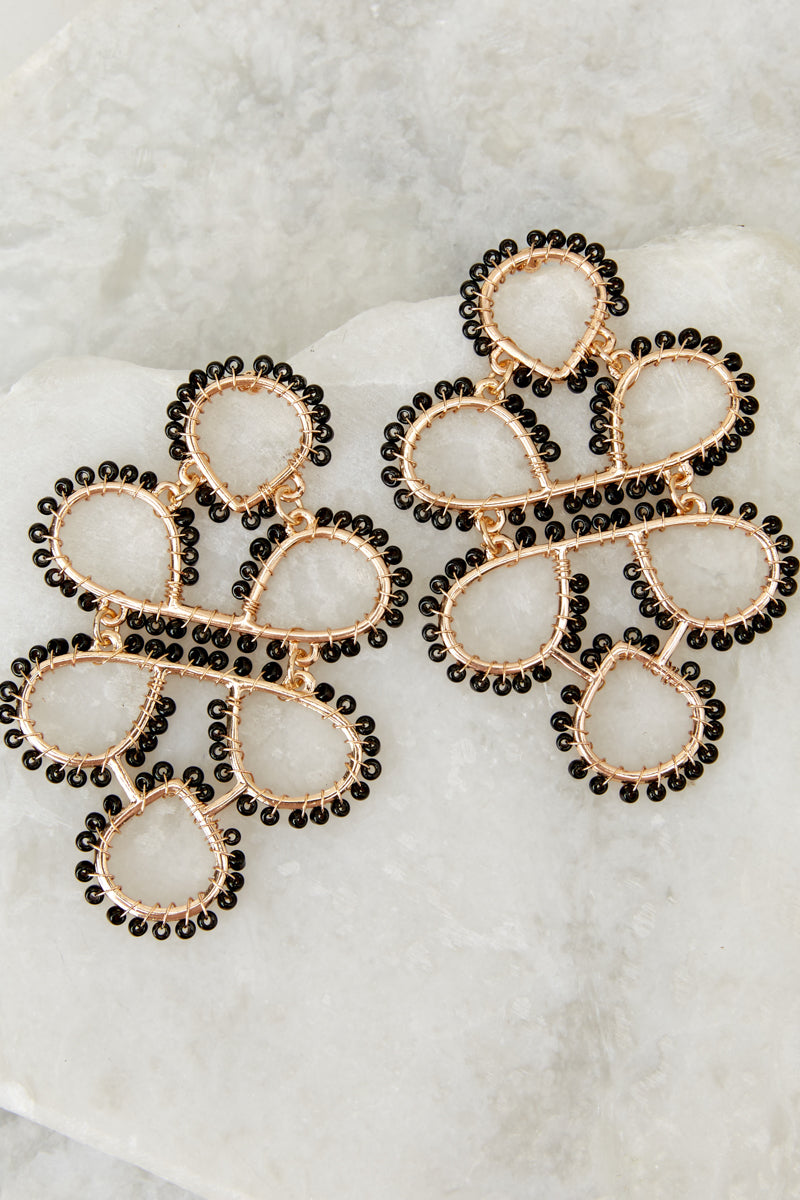 2 On Another Level Black Statement Earrings at reddressboutique.com