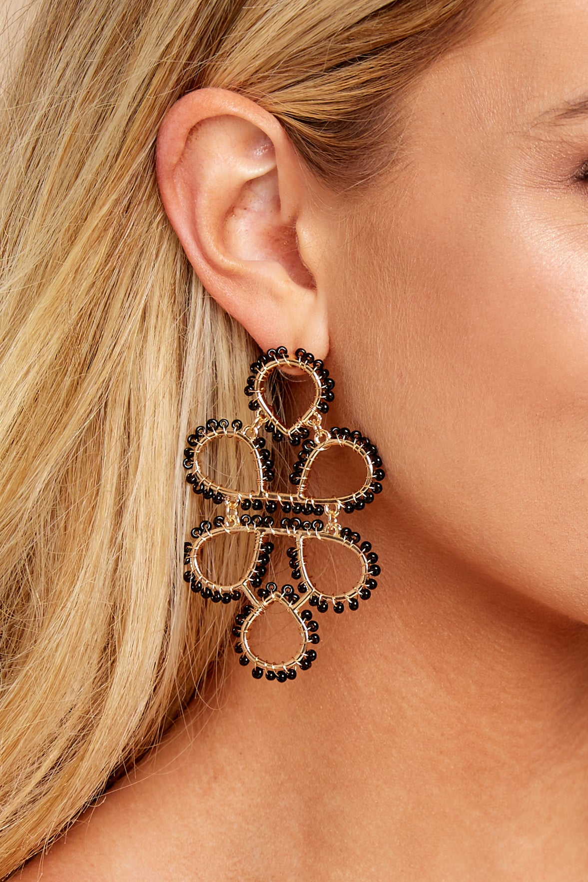 1 On Another Level Black Statement Earrings at reddressboutique.com