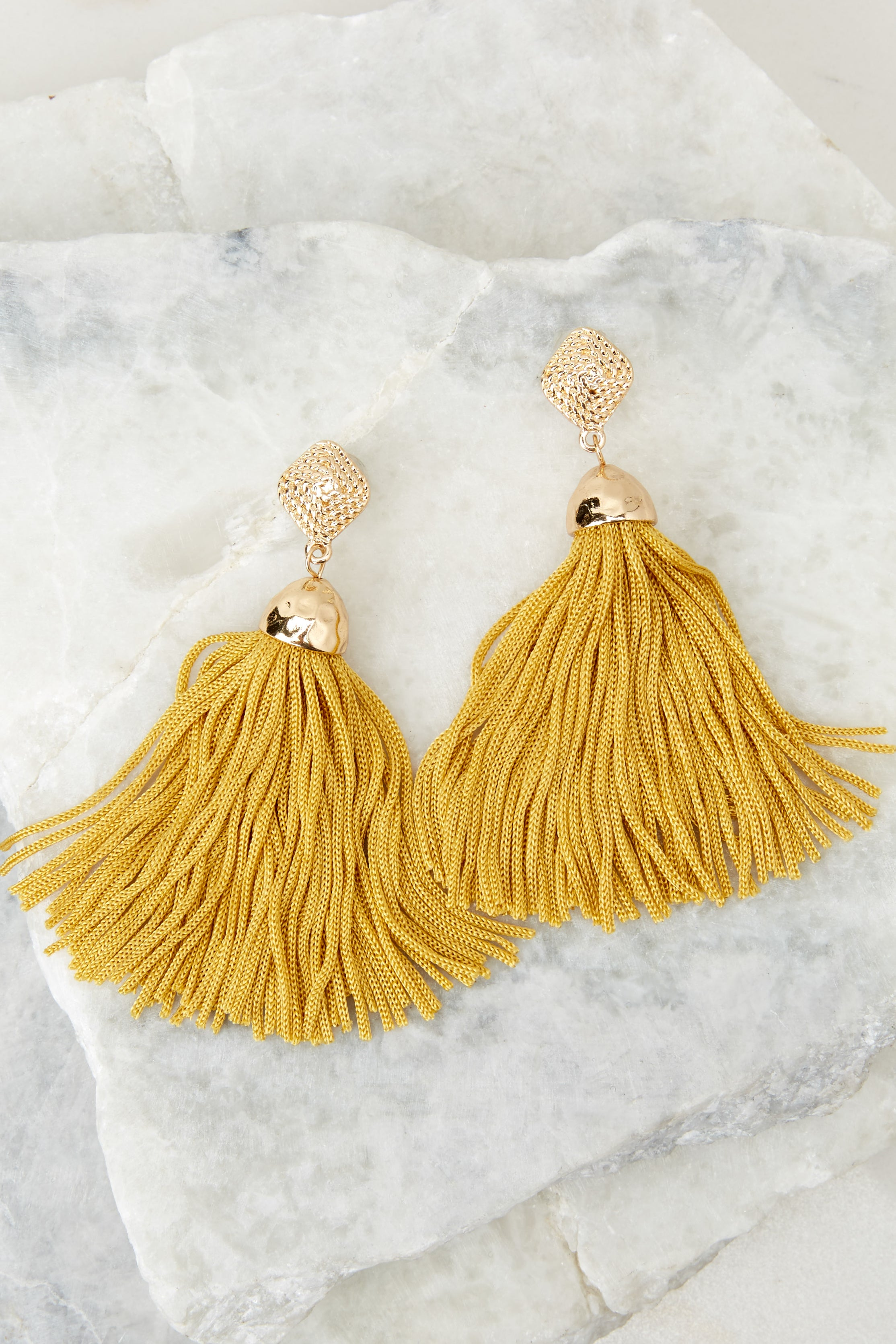 2 Request More Time Goldenrod Yellow Tassel Earrings at reddressboutique.com