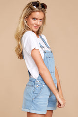 3 No One Can Deny Short Light Denim Overalls at reddress.com
