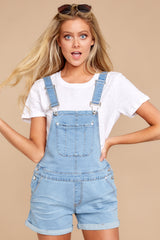 4 No One Can Deny Short Light Denim Overalls at reddress.com