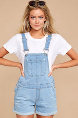 6 No One Can Deny Short Light Denim Overalls at reddress.com