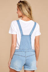 7 No One Can Deny Short Light Denim Overalls at reddress.com