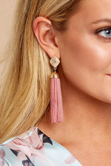 2 Request More Time Mauve Pink Tassel Earrings at reddressboutique.com