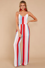 2 Greatest To Ever Walk Red Multi Striped Jumpsuit at reddressboutique.com