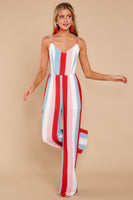 V-neck Rayon Princess Seams Waistline Open-Back Pleated Hidden Back Zipper Darts Striped Print Jumpsuit