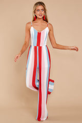 1 Greatest To Ever Walk Red Multi Striped Jumpsuit at reddressboutique.com