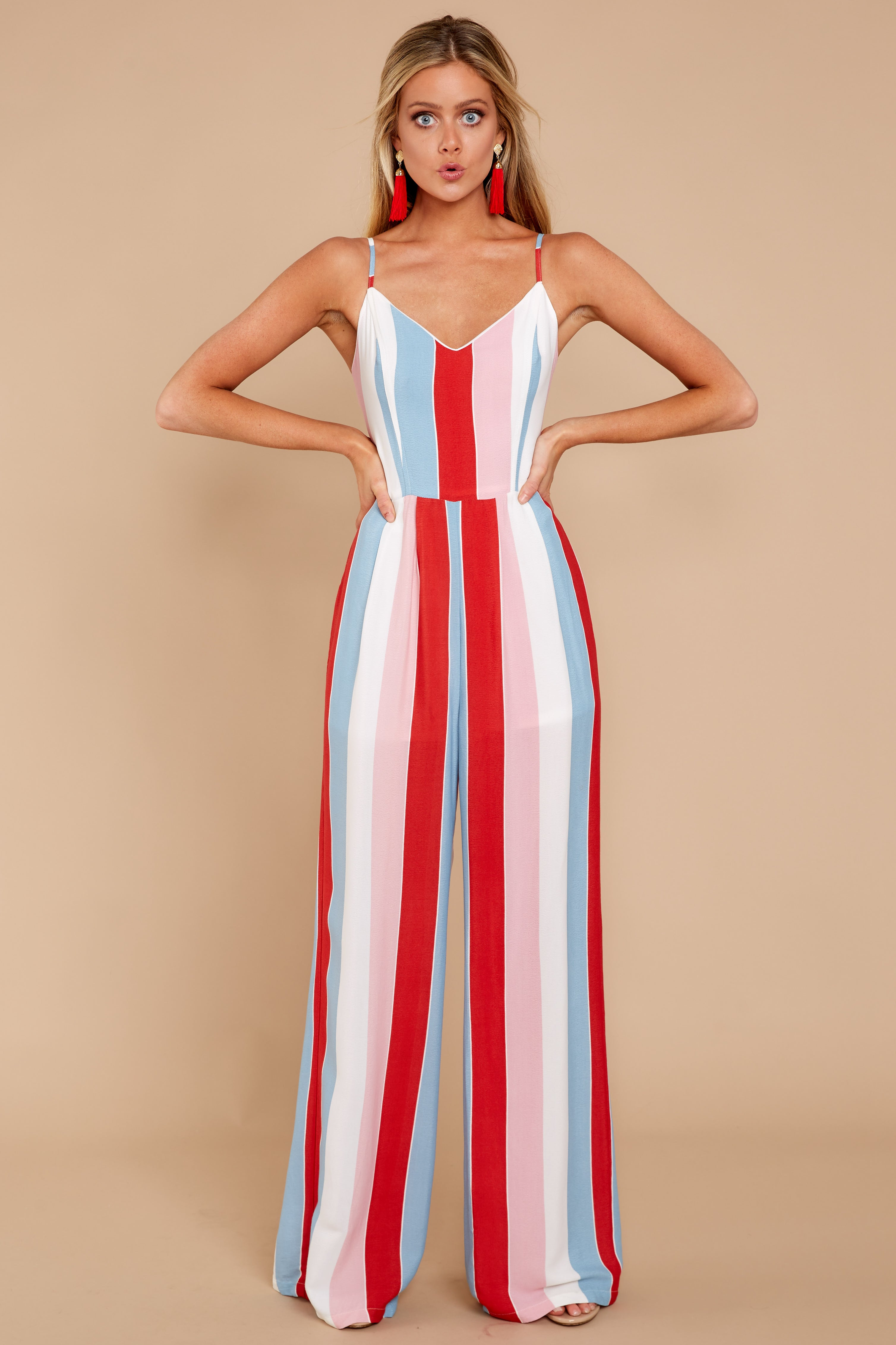 3 Greatest To Ever Walk Red Multi Striped Jumpsuit at reddressboutique.com