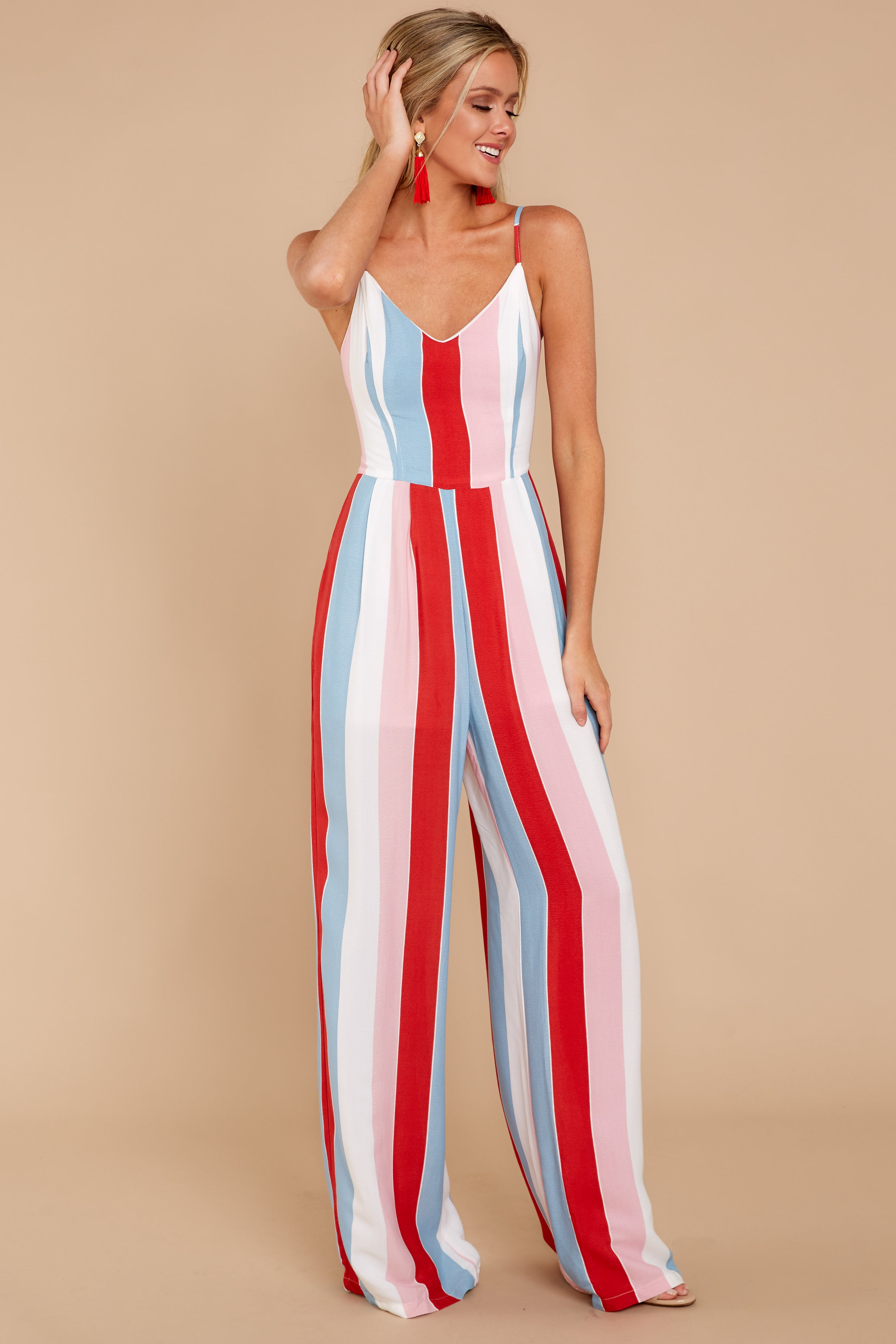 4 Greatest To Ever Walk Red Multi Striped Jumpsuit at reddressboutique.com