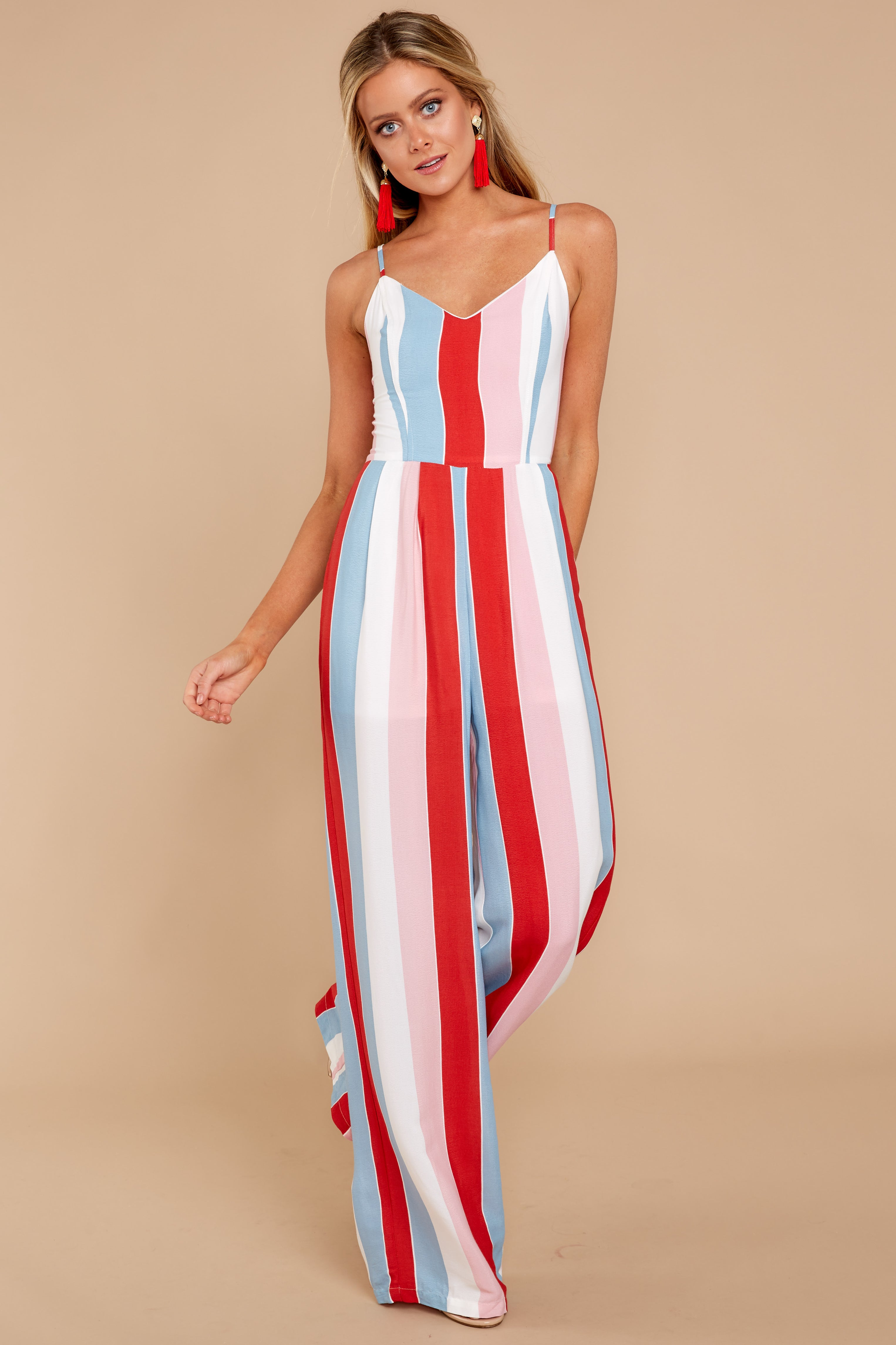 5 Greatest To Ever Walk Red Multi Striped Jumpsuit at reddressboutique.com