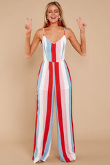 6 Greatest To Ever Walk Red Multi Striped Jumpsuit at reddressboutique.com