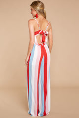8 Greatest To Ever Walk Red Multi Striped Jumpsuit at reddressboutique.com