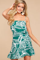 Faux Wrap Hidden Back Zipper Fitted General Print Cotton Straight Neck Dress With Ruffles