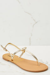 1 Golden Moment Gold Sandals at reddressboutique.com