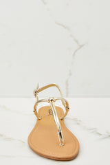 2 Golden Moment Gold Sandals at reddressboutique.com