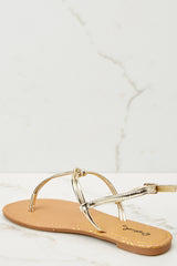 3 Golden Moment Gold Sandals at reddressboutique.com