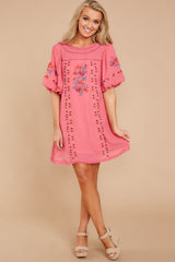 3 Through The Phase Pink Embroidered Dress at reddressboutique.com