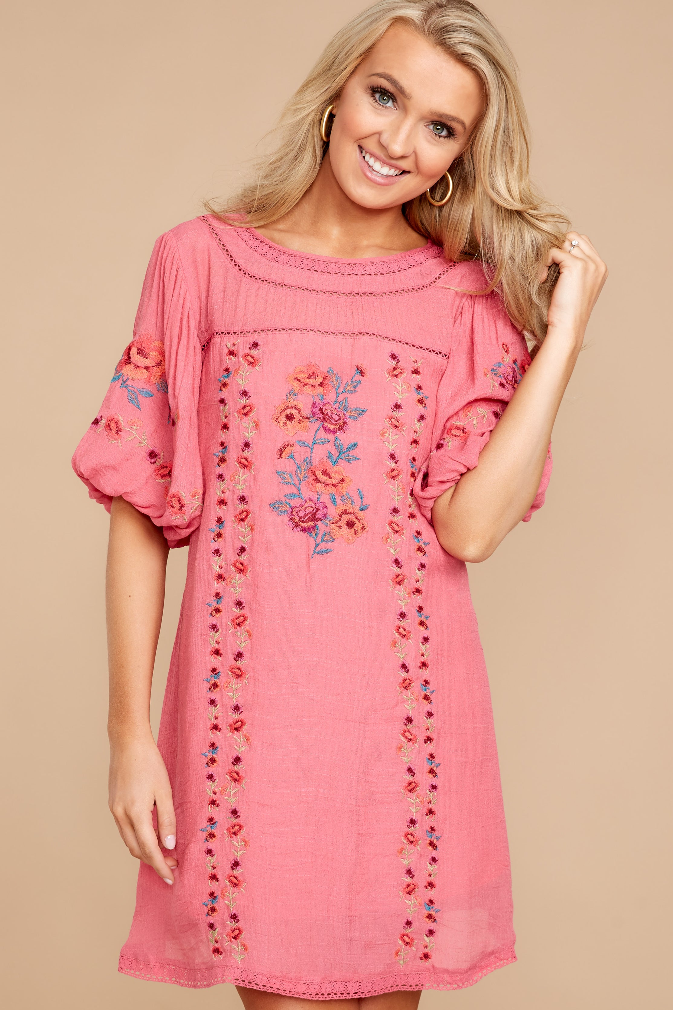 1 Through The Phase Pink Embroidered Dress at reddressboutique.com