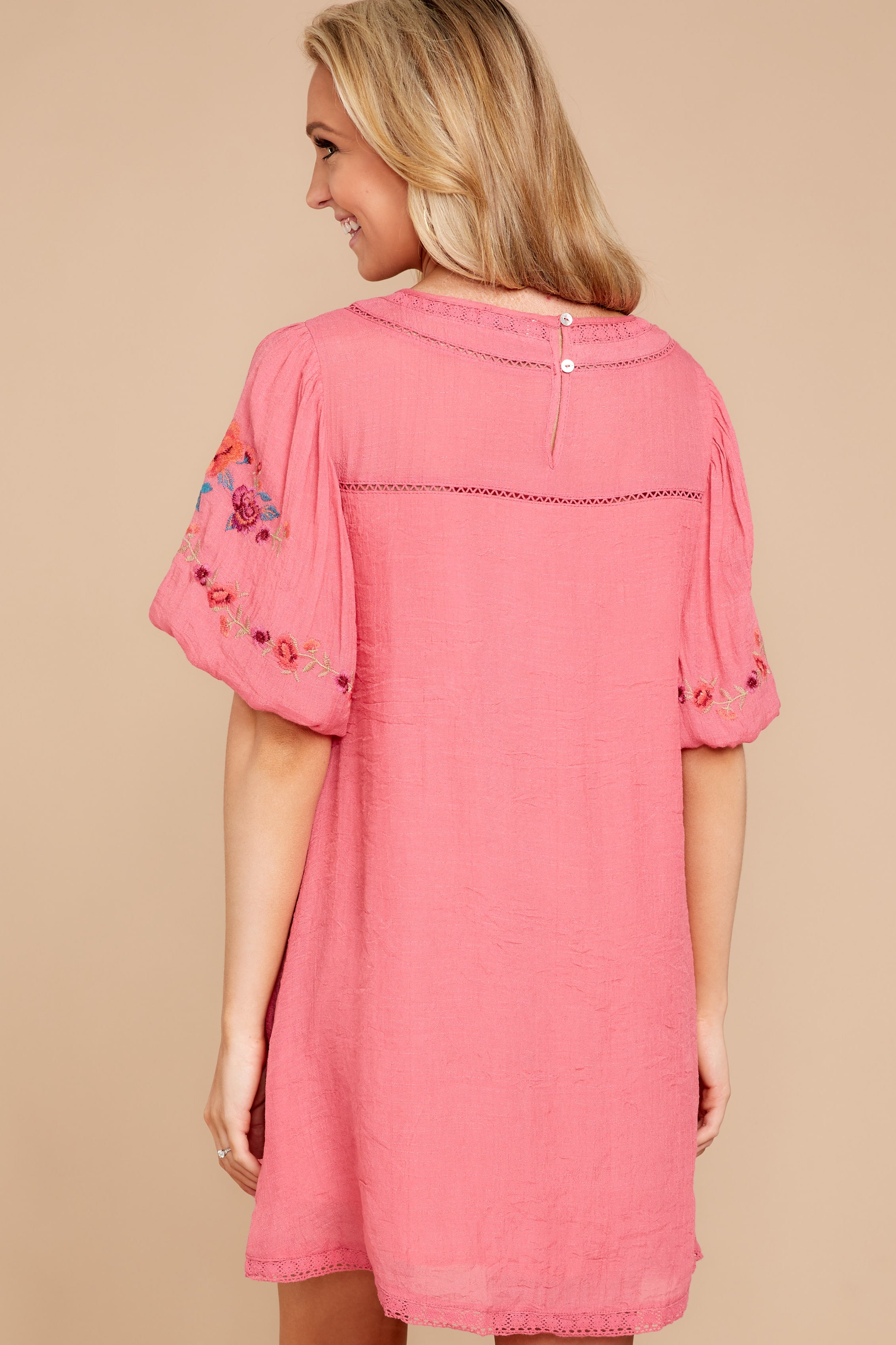 6 Through The Phase Pink Embroidered Dress at reddressboutique.com